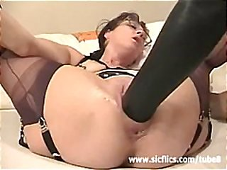 extreme, mature, stockings, fisting, solo, dildo, masturbating, hardcore, glasses, milf, brunette, amateur
