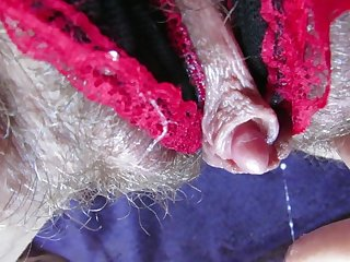 My Wet big clit hairy pussy in panties after huge orgasm