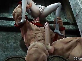 Juggernaut bangs pale babe in her ass with his big cock