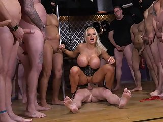 curves-bosomed stripper used by sex act grop hard fuck of naughty guys