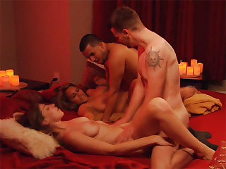 Horny chubby swinger couple jumped into group orgy sex