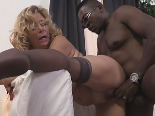 Mature busty mama first time sex with big black cock younger lad