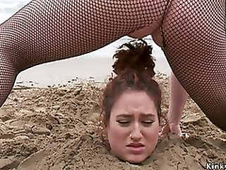 Big Beautiful Woman Whore Got Piss Buried On The Beach