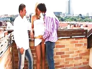threesome, on, outdoors, gay, bisexual, party, balcony, group sex
