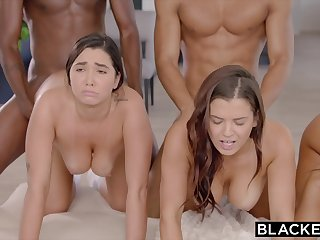 BLACKED Abella, Karlee And Keisha Opened Up Out By 2 BIG BLACK COCK S