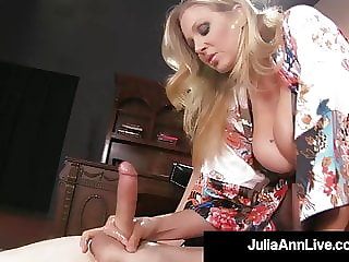 Mature Mommy Julia Ann Mounts Young Boy Toy's Eager Face!
