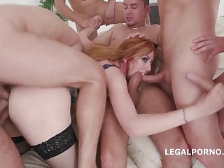 Meat lovers: brutal gangbang sex orgy with big ass pornstar taking numerous big dicks
