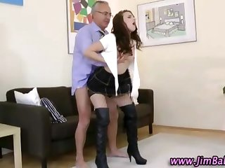 Stockings schoolgirl in boots gets fucked