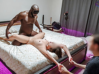 Asian hotwife gets used roughly in front of cuck boyfriend