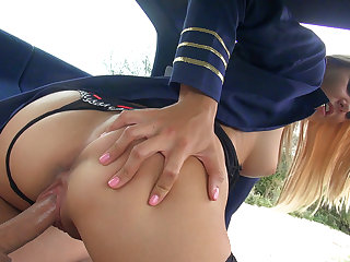 Slutty stewardess Christen public fuck
