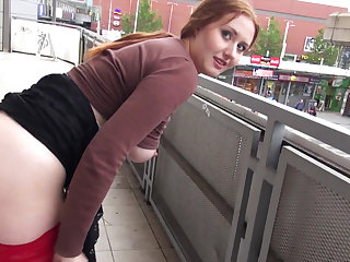 Awesome public sex with hot and busty red haired amateur Helen