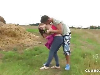 Slavic Couple Fucks Publicly on a Meadow