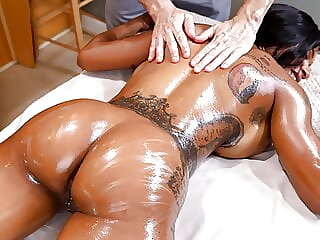 Busty ebony demanded some cock
