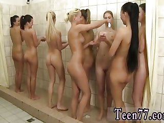 Taking piss public Hot 8 femmes taking a shower together