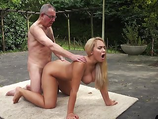 Beautiful blonde girlfriend fucks horny old man doggystyle