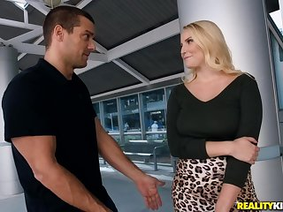 Busty blonde Vanessa Cage titjobs and sucks big cock before having hardcore fuck