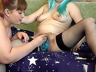 Fat Lady Milf Inserts Panties Into Her Pregnant Girlfriends Big Hairy Puss