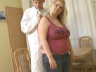 Big tits chubby blonde rides doctors cock