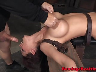 Busty sub squirts while spitroasted