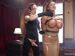 Master fucks huge melons bitch in latex