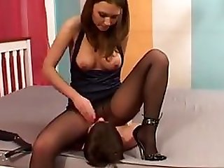 Femdom Wimp And Pussy Humiliating Tied Up Skinny Slave