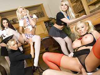 Lucky Guy Gets Reverse Gangbanged by Four Horny Schoolgirls n Their Teacher