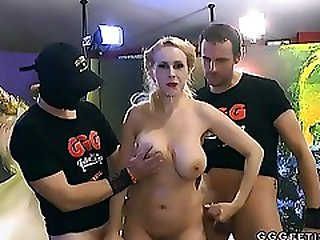 Busty Angel Wicky Enjoys Gangbang With Cumshots