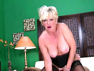 Busty blonde grandma seduced by a stud