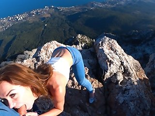 Risky Public fuck on a cliff. Amateur Mia Bandini