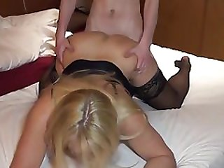 Mature Blonde Cougar Destroying Lucky Boy