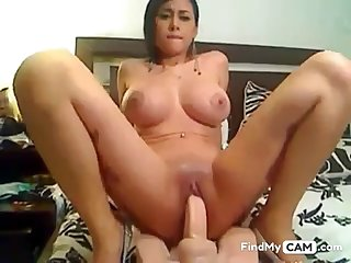 Incredible Latin Girl Riding Dildo on WEbcam
