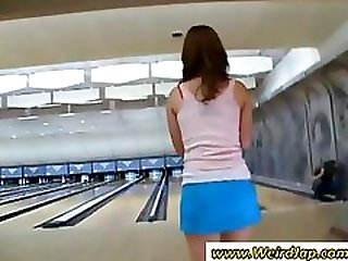 Japanese girl in a bowling alley gets her pussy vibrated upskirt