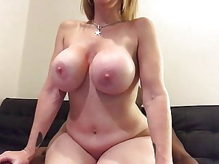 Hot and Wild Busty American PAWG MILF Ride Big Black Cock