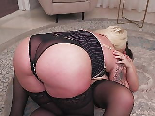 Booty mom fucks busty daughter with strapon