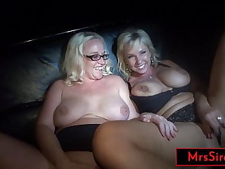 2 Big Tits MILF Hotwives Serve As Public Jackoff Material