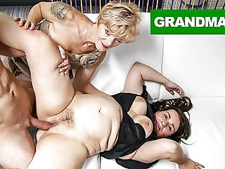 Two Insatiable Grannies Share a Big Cock
