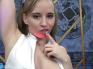 Blonde Teen Stripper CFNM Dick Flash Masturbation Upskirt