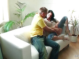 German MILF Hidden Cam Fuck in Crotchless Jeans by Young Guy