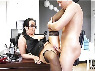 German MILF Teacher with Glasses Fuck Student at school