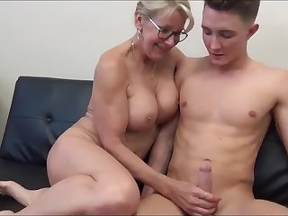 Horny cougar MILF seduces and fucks young stud with hug...