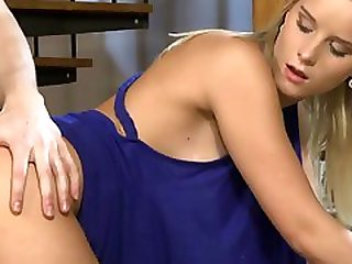 Sexy Blonde Bitch With Natural Tits Goes ATM On The Sofa