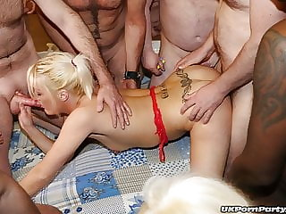 Sexy English blondes enjoy a gangbang party