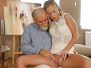 OLD4K. Old geography teacher fucks slutty blonde in various positions